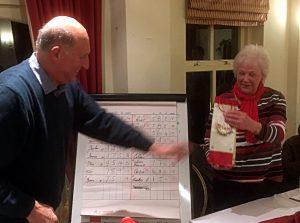Jo Bonello presenting a prize to Sandra Harte